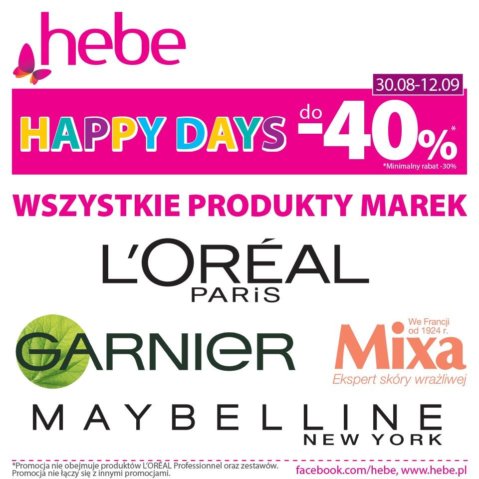 Happy Days do-40% Wszystkie Produkty Marek LOréal, Mixa, Garnier i Maybelline