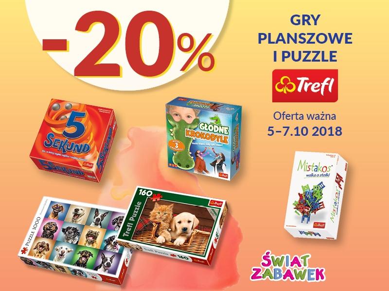 - 20 % na wszystkie gry i puzzle firmy Trefl