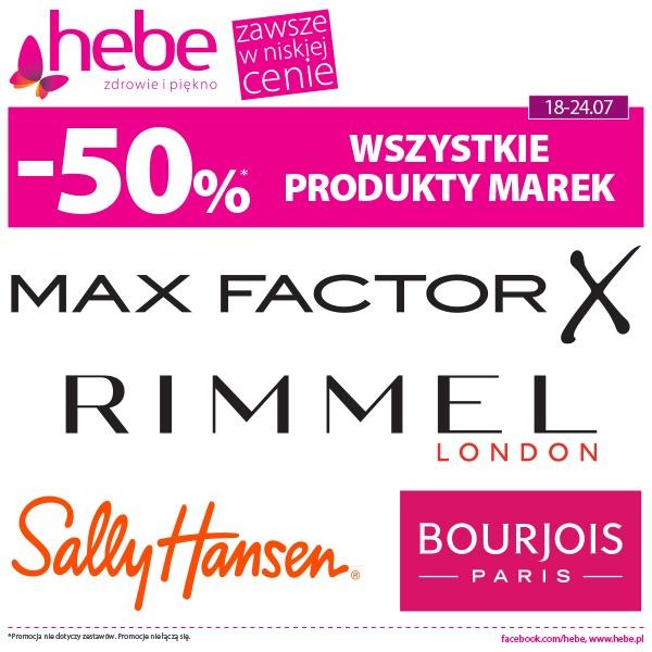 -50% WSZYSTKIE PRODUKTY MAREK Max Factor, Rimmel London, Sally Hansen, Bourjois