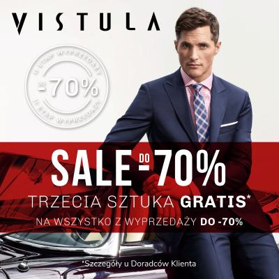 Trzecia sztuka gratis na wszystko z wyprzedaży do -70% w salonie VISTULA!
