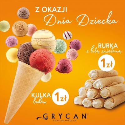Dzień Dziecka u Grycana:  Kulka lodów lub rurka z bitą śmietaną tylko za 1 zł!