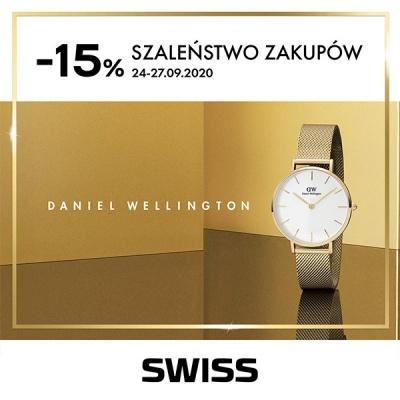 15% rabatu na zegarki Daniel Wellington