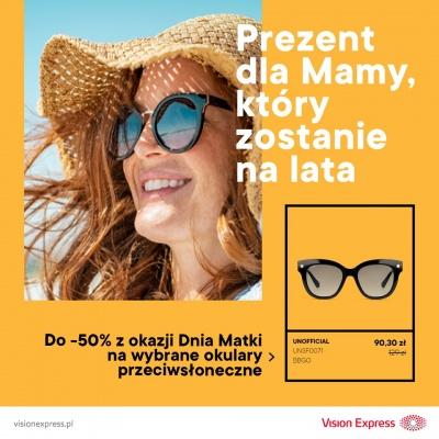 Do - 50% na wybrane okulary przeciwsłoneczne na Dzień Matki!